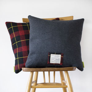Tartan Cushion The Duke Upcycled Vintage Gannex - living room