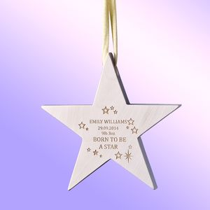 'Born To Be A Star' Baby Keepsake Star Decoration