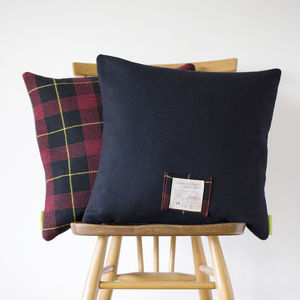 The Harold Upcycled Vintage Gannex Plaid Cushion - living room