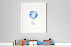 Personalised Blue Balloon Print - children's pictures & paintings