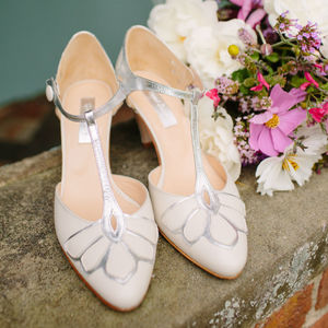 Gardenia Closed Toe Leather Wedding Shoes - bridal shoes