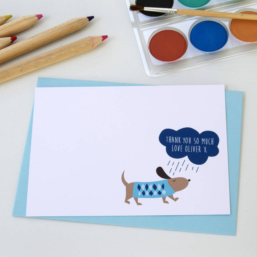 Well known 12 personalised blue rainy day dog thank you cards by little ink  UR39