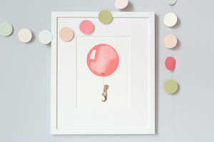 Personalised Coral Balloon Print