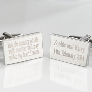 Personalised Your Message Silver Plated Cufflinks - men's accessories