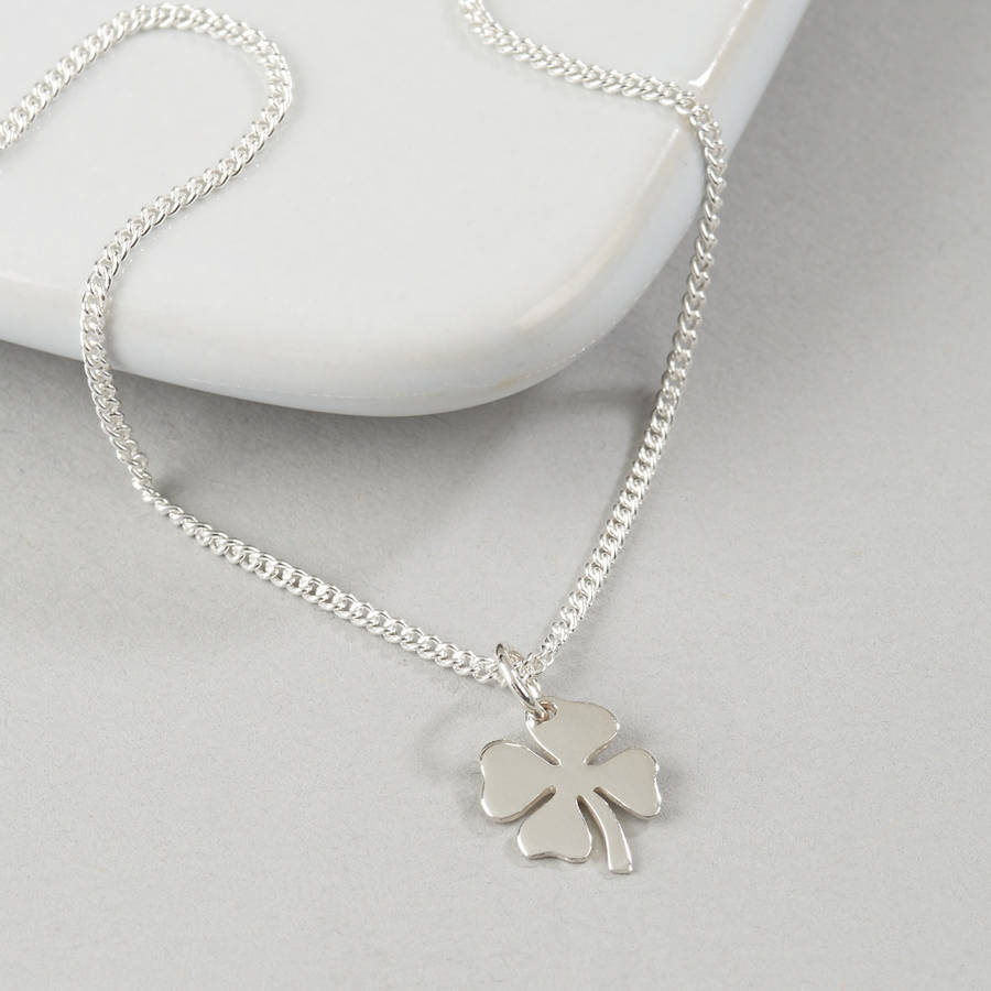 a charm pin clover has leaf silver four necklace inch is lucky sterling simple pendant that this and beautiful wear