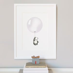 Personalised Grey Balloon Nursery Print
