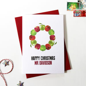 Personalised Teacher 'Apple Wreath' Christmas Card