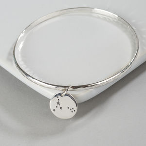 Silver Zodiac Constellation Bangle - 50th birthday gifts