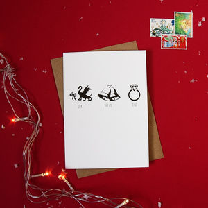 Pack Of Four 'Slay Bells Ring' Christmas Cards