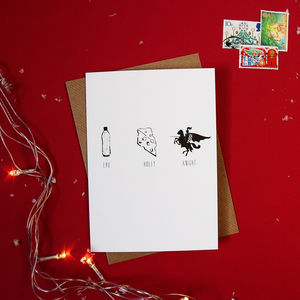Pack Of Four 'Eau Holey Knight' Christmas Cards