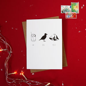 Pack Of Four 'Gin Gull Bells' Christmas Cards