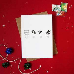 Pack Of Four 'Chest Nuts Row Sting' Christmas Cards