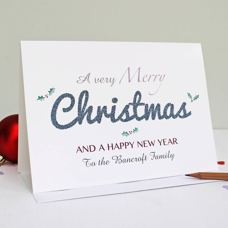 personalised merry christmas and happy new year card by martha brook notonthehighstreetcom