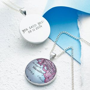 Personalised Circle Map Location Necklace - for your other half