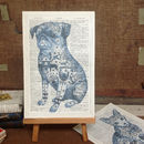 'Tattoo Pug Dog' Dictionary Book Page Art Print