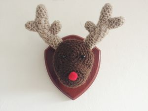 Christmas Crocheted Reindeer Head