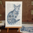 'Tattoo Cat' Dictionary Book Page Art Print