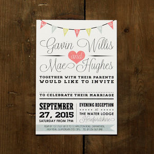 Vintage Bunting Wedding Invitation - reply & rsvp cards
