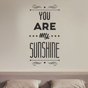 You Are My Sunshine Quote Wall Stickers - decorative accessories