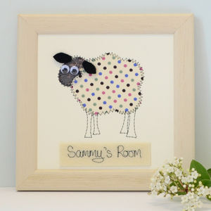 Personalised Sheep Embroidered Plaque - mixed media pictures for children