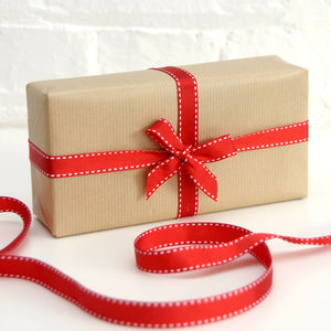 Red Grosgrain Stitched Edge Ribbon - wrapping paper & gift boxes