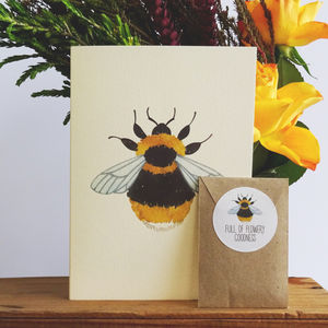 Yellow British Bee Greetings Card With Seed Packet - garden sale