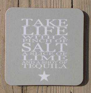 Coaster Set 'Take Life With A Pinch Of Salt…' - placemats & coasters