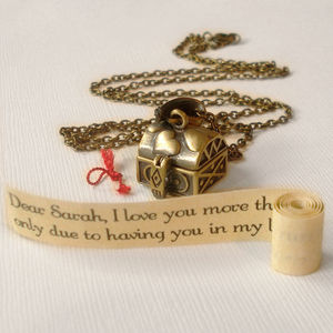 Antique Gold Treasure Chest Message Locket - women's jewellery