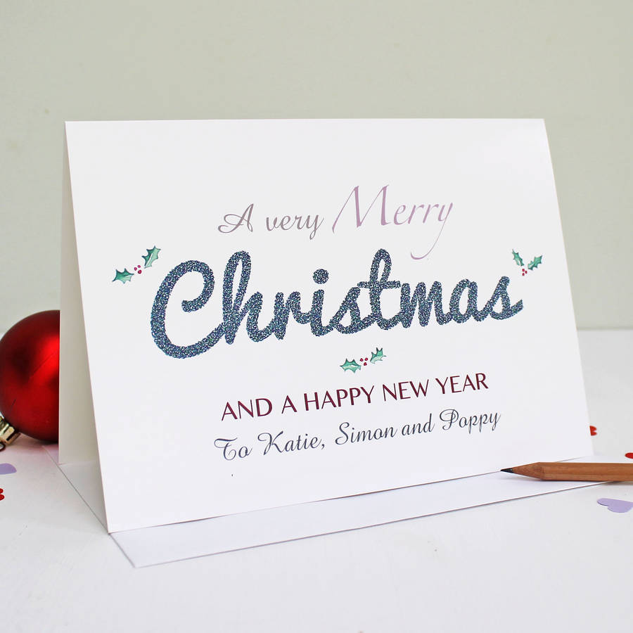 personalised merry christmas and happy new year card by martha brook ...
