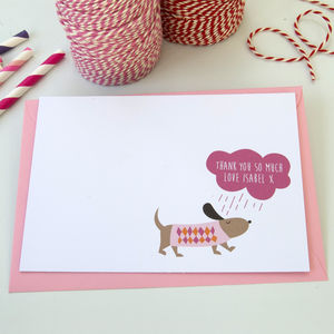 12 Personalised Pink Rainy Day Dog Thank You Cards - thank you cards