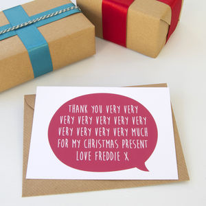12 Personalised Christmas 'Thankyou Very Much' Cards - cards