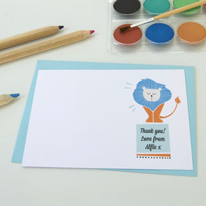 12 Personalised Circus Lion Thank You Cards