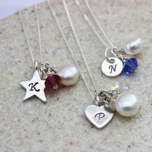 Birthstone And Charm Necklace - for sisters