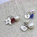Personalised Birthstone And Silver Charm Necklace
