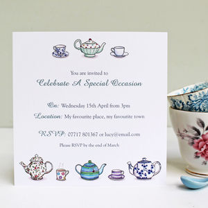 Personalised Tea Party Invitations - childrens party invitations