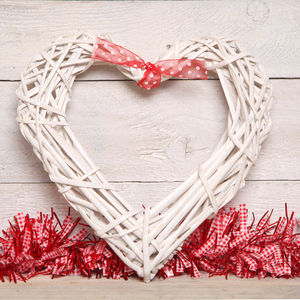 Large White Wicker Heart Decoration