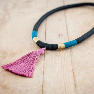 Black And Pink Tassle Necklace