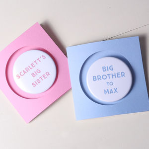 New Baby Badge Card For Siblings - christening cards