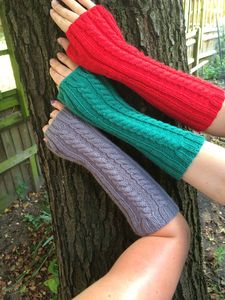 Long Colorful Fingerless Cable Knit Gloves