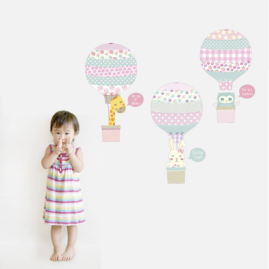 Pink Animal Hot Air Balloons Fabric Wall Stickers