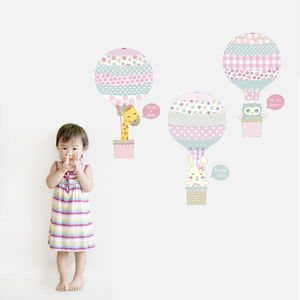Pink Animal Hot Air Balloons Fabric Wall Stickers - children's room