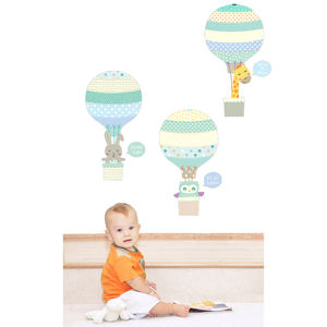 Blue Animal Hot Air Balloons Fabric Wall Stickers - wall stickers