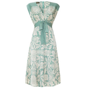 Mimi Bow Dress In Duck Egg Lace Stencil Print Crepe