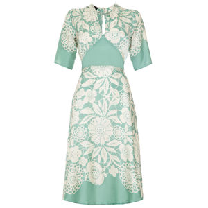 Tea Dress In Aqua Lace Stencil Crepe - bridesmaid dresses