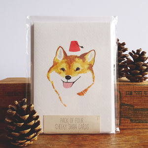 Pack Of Four Cheeky Shiba Inu Greetings Cards