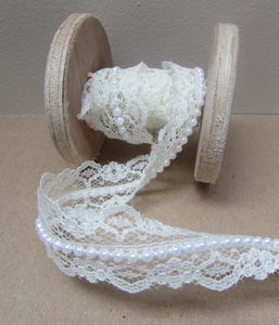 Cream Lace And Pearl Wedding Ribbon One Metre