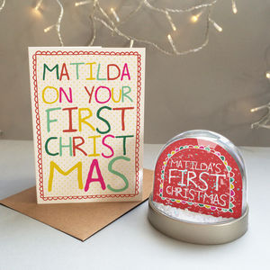Baby's First Christmas Personalised Snowglobe Gift Set - baby's first christmas