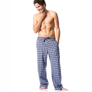 Men's Blue Check Brushed Cotton Pj's - men's fashion