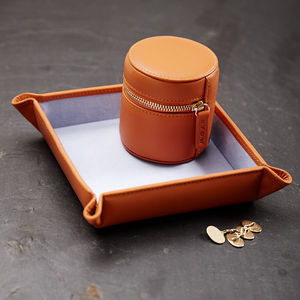 Leather Stud Box And Coin Tray Gift Set