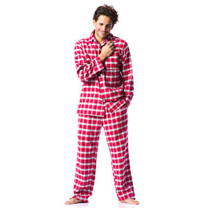 Mens Brushed Cotton Red Check Pyjamas - men's fashion